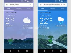 Google Now Weather with Frog Illustration Making Weather Info More Creativity