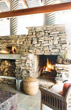 Stone pizza hearth w/ corrugated flue covers; A. Richard Bunn