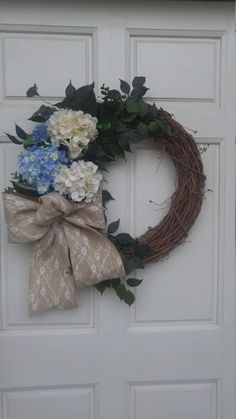 Blue and Cream Hydrangea Summer Fall Wreath with Burlap Lace