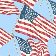Patriotic 2017 Fabric American Flags #8466W Andover Premium Cotton #AndoverFabrics