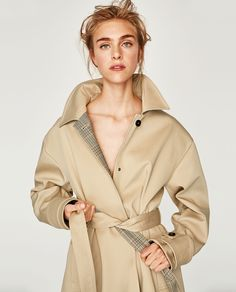 Image 2 of TRENCH COAT WITH CHECKED LINING from Zara