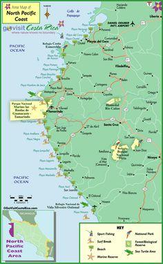 North Pacific Coast (Tamarindo Area) Map, Costa Rica