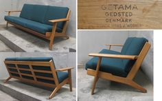 3 seats oak sofa designed by Hans Wegner produced by Getama. Model GE290.