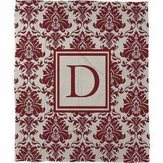 Thumbprintz Damask Monogram Fleece Throw, Crimson, Red