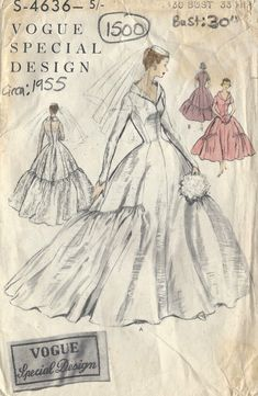 1955 Vintage VOGUE Sewing Pattern B30 Brides by tvpstore on Etsy