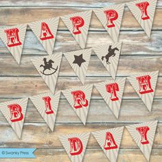 Available for instant download. Perfect for last minute decorating!!! Printable Party Banner or Bunting Cowboy Rocking by swankypress, $15.00