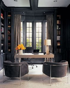 Dark gray office - Monique Lhuillier's study, as seen in Elle Decor. Photo by Roger Davies.