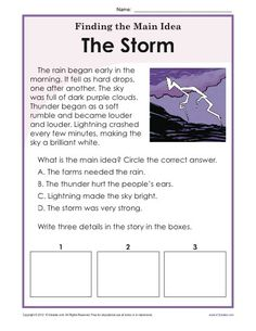 or Grade Main Idea Worksheet about Storms After reading a brief passage about storms, students are prompted to write the main idea and 3 details.After reading a brief passage about storms, students are prompted to write the main idea and 3 details. Reading Comprehension Worksheets, Reading Passages, Reading Strategies, Reading Skills, Teaching Reading, Reading Fluency, Guided Reading, Summarizing Worksheets, Synonym Worksheet