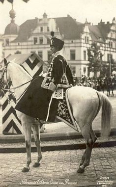 Princess Viktoria Luise in the uniform of the 'Death's Head Hussars' (Life Hussar Regiment (Leib Husaren Regt Nr 2) of which she was Colonel in Chief). ca.1910. Taken in Danzig.