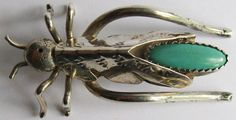 VINTAGE NAVAJO INDIAN STERLING SILVER & TURQUOISE GRASSHOPPER PIN