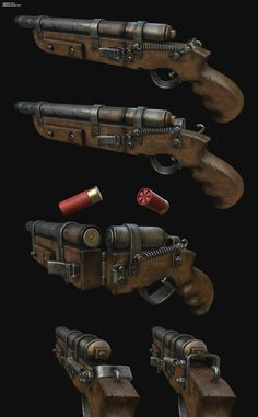 Homebrew Shotgun asset model created by Pedro Amorim on ArtStation Arma Steampunk, Steampunk Weapons, Sci Fi Weapons, Weapon Concept Art, Weapons Guns, Fantasy Weapons, Guns And Ammo, Homemade Weapons, Cool Guns