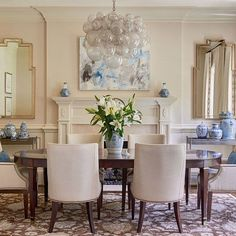 This dining room by my friend @tracizeller is a perfect example of how to incorporate color when you're timid about the commitment. Although the room is mostly neutral, the addition of the blue and white collections helps give the impression that the room is blue! Traci is nominated with me in @traditionalhome's #NewTrad2016 design talent search. I hope you'll follow her here and vote for her (and me) by clicking through the links in our bios! #designertricks #kickchromaphobia…