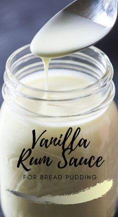 Buttery rich and creamy with vanilla and rum flavors this Vanilla Rum Sauce will make your bread pudding taste absolutely amazing! Vanilla Rum, Vanilla Sauce, Vanilla Custard, Sauce Recipes, Gourmet Recipes, Baking Recipes, Dessert Tray, Coffee Dessert, Bread Pudding Recipe With Rum Sauce