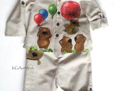 Grigio vestito per ragazzi  abito di lino dipinte di InGAartWork