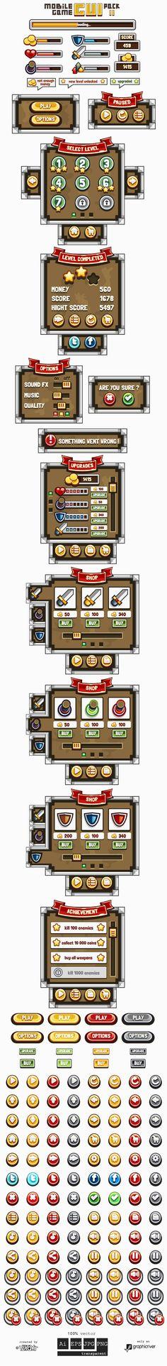 Mobile Game GUI Pack...@白幽游采集到GAME-UI(1266图)_花瓣游戏