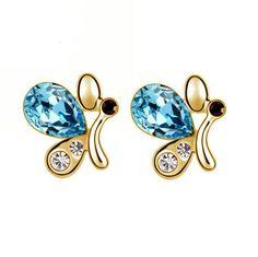 Boucles d'oreille clous motifs papillons, plaqué or avec des cristaux bleus Autrichiens et oxydes de zirconium.