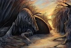 Kelpie - water horse - Scottish Folklore; The horse Kelpie lures children into riding it and as soon as they sit on its back, it jumps into the nearby water and drowns the kid. The human form of it is described as a shaggy-looking man that mumbles nonsense and stiches a pair of trousers. It's mostly harmless in human form.