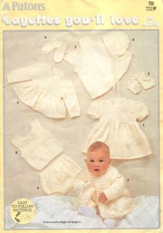 Vintage Knitting and Crochet Pattern Booklet PDF 3 Baby Layettes 26 Garments Angel Top Matinee Jacket Dress Shawl Coat Bonnet Christening Easy Baby Knitting Patterns, Baby Girl Patterns, Crochet Patterns, Free Knitting, Knit Baby Dress, Jumper Dress, Baby Cardigan, Layette Pattern, Baby Layette