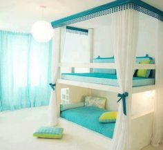 Amazing light green and light blue and white bunk bed and I hate it so much but other people like it oh well