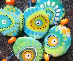 jasmin french ' barbados ' lampwork beads set by jasminfrench