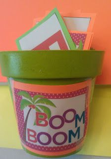 Kindergarten Kel: Chicka Chicka Boom Boom Letter Recognition Activitty. Kids pick letter cards, read it, keep it, if they get BOOM card they put all cards back. Kid with most cards at the end wins.