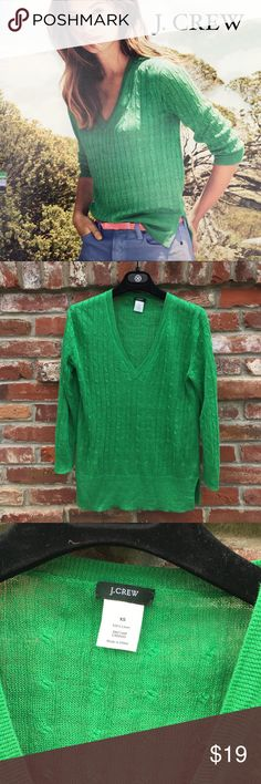 J. Crew Linen V-Neck Green Cable Sweater 30% OFF Bundles. Lightweight cable-knit linen gets a fresh-for-the- season makeover in a rainbow of sun-kissed brights. Its classic shape is updated with smart design details.  3/4 sleeves. Perfect condition. no holes stains tears rips etc.Only worn once. Gorgeous green color gorgeous green color. Really nice light weight for the warmer weather. J. Crew Sweaters V-Necks