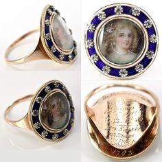 Antique Georgian Gold Portrait Miniature Ring Framed in Diamonds