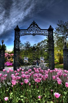 Entranceway to the beautiful Public Gardens in Halifax, Nova Scotia, Canada.