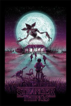 Netflix Stranger Things Glow in the Dark Moon Demogorgon Lithograph Horror Art Stranger Things Netflix, Demogorgon Stranger Things, Stranger Things Tattoo, Stranger Things Aesthetic, Stranger Things Upside Down, Stranger Things Monster, Wallpapers Tumblr, Anime Kunst, Film Serie