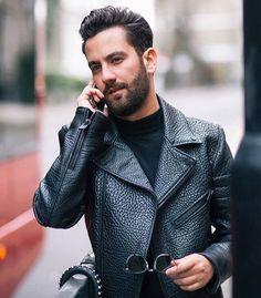 Mathew Zorpas for Moderne Men (@modernemen) in Black Leather Coat • Instagram, Mens Fall Winter Fashion.