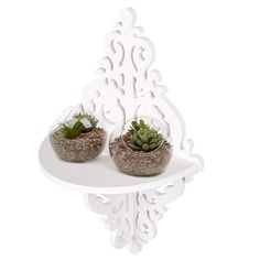 pin it for later. Read more on french country bathroom accessories. Wall Mounted Floating Shelves, Bring classical style and useful display space to your home with this set of 4 white shelves. Each shelf features a decorative scrollwork design which will look great against any wall. Utilize these shelves to display house plants, picture frames, small speakers, or all kinds of other items. The ... #frenchcountrybathroomaccessories