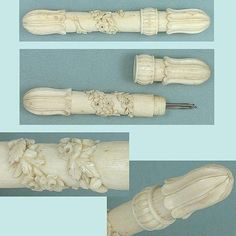 Gorgeous Antique Carved Bone Needle Case  French - Possibly Dieppe 1850