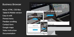 Business Browser | Muse Template . Business Browser a universal one-page site intended for a business review. The theme has a modern and clean design. The template has organized layers panel that makes it easy to edit it. Mobile and tablet versions are also included. For the best adaptation on all devices the mobile and tablet