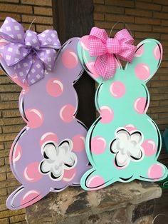Easter Bunny door hanger Easter door sign Easter bunny door sign Easter wreath These precious pastel Spring Crafts, Holiday Crafts, Wood Crafts, Diy Crafts, Burlap Door Hangers, Christmas Door Hangers, Diy Ostern, Easter Projects, Hoppy Easter