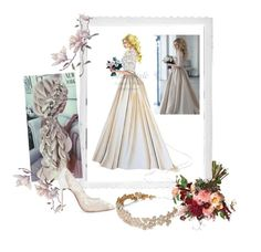 romanitc bride by misisspoly on Polyvore featuring moda, Christian Louboutin, Brides & Hairpins and Polaroid