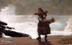 Large (Wikimedia) Winslow Homer painted The Gale in and repainted it at some point before reshowing it in As the Worcester Art Museum writes, Homer began as a painter mostly of rural. Winslow Homer Paintings, Milwaukee Art Museum, Oil Painting Reproductions, American Artists, Canadian Artists, Les Oeuvres, Art History, Oil On Canvas, Illustration Art