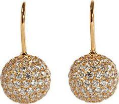 Shamballa Jewels Pave Diamond & Gold Ball Drop Earrings