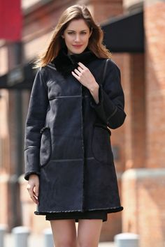 BLACK FAUX SUEDE LEATHER PEA COAT LINING WITH LUSH FAUX FUR.