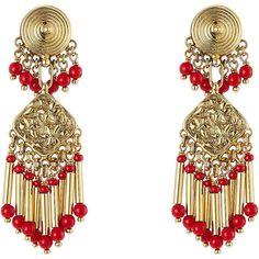 Etro Bead Embellished Earrings (36805 RSD) ❤ liked on Polyvore featuring jewelry, earrings, boho, etro, gold, none, bohemian style earrings, beaded chandelier earrings, beading earrings and bohemian jewelry