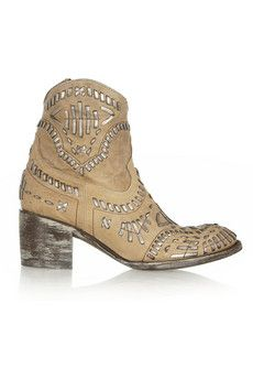 Mexicana Apache embroidered distressed leather ankle boots | NET-A-PORTER