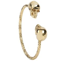Alexander McQueen SHINY GOLD TWIN SKULL BANGLE
