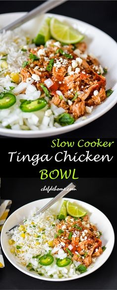 Mexican Slow Cooker Tinga Chicken. Enjoy a bowl with rice for dinner or fill in tacos for Taco Tuesday | Chefdehome.com