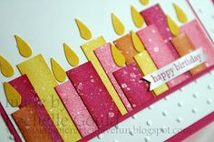 Various heights and widths of Melon Mambo, Daffodil Delight, Peach Parfait and Regal Rose card stocks. Sponged the edges of the candles, and spritzed them using the Shimmer Smooch. Small heart punch cut in half for the flames.