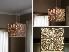 Laser Cut White Floral Light Shade