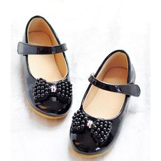Black Beaded Patent Leather Mary Jane Flower Pageant Girl Dress Shoes  SKU-133039
