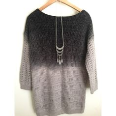 """Mystree Shades of Gray Ombre Sweater Mystree hip length open-knit wide crew neck sweater which has this cool ombre color effect from dark gray to light gray. In gently used condition. Marked as M/L. It can fit S or M. 30% acrylic, 70% mohair. Armpit to armpit 19"""", length 30"""", hem 17.5"""". 3/4 sleeve length. Mystree Sweaters Crew & Scoop Necks"""