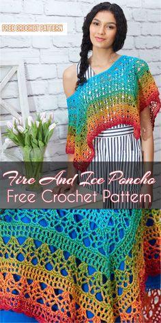 Fire And Ice Poncho Free Crochet Pattern #crochet #freecrochetpatterns #poncho #style #summerfashion