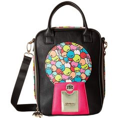 Betsey Johnson Bubble Gum Lunch Tote (Multi) Tote Handbags ($48) ❤ liked on Polyvore featuring bags, handbags, tote bags, betsey johnson handbags, zipper tote, tote handbags, vegan leather tote and vegan tote bags