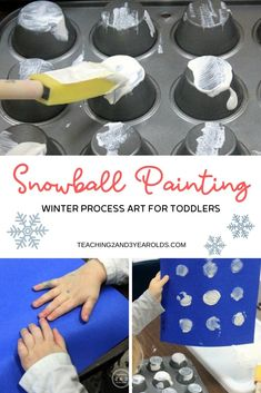 This fun and easy snowball painting activity fits right in with your toddler winter theme. A great process art activity! Art Activities For Toddlers, Snow Activities, Painting Activities, Indoor Activities, Winter Thema, Toddler Teacher, Multiplication For Kids, Winter Crafts For Kids, Process Art