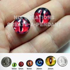 12mm Evil Red Dragon Handmade Glass Taxidermy Pullip Doll Eyes Chips Cabochons for Steampunk Jewelry and Pendant Making by Nixcreations, $6.75